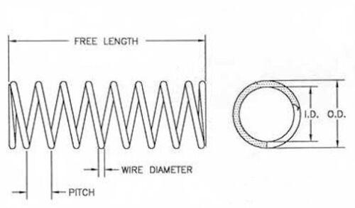 "Chrome 1 ea 1.565/"" OD x .236/"" Wire Dia x 4.150/"" Long Compression Springs"