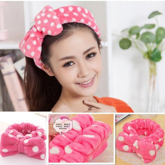 New Pink Big Bowknot Elastic Soft Dot Wash Makeup Hair Band Shower Band Headband