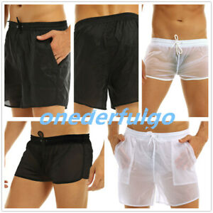 Sexy Men's See-through Boxer Briefs Swimwear Trunks Shorts Swimsuit Short Pants