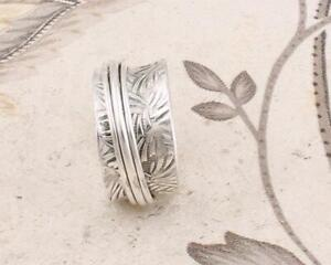 925-Solid-Sterling-Silver-Handmade-Designer-Spinner-Ring-Silver-Band-Jewelry