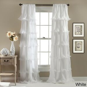 Details About White Curtain S Ruffle Panel Nursery Bedroom Drape Window Covering Treatment