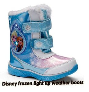 Disney Frozen Girls Winter Fur Light Up Boots Elsa Anna