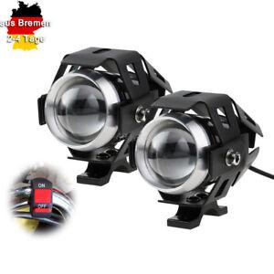 2x-125W-U5-LED-Motorad-Blinker-Frontblinker-scheinwerfer-Nebellicht-mit-Schalter