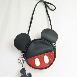 DISNEY kleiner Handtasche* MICKEY MOUSE Kopf * schwarz Maus kleine Tasche rund