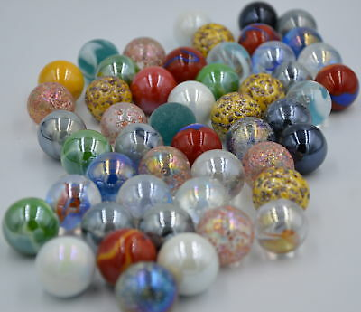 NEW 50 MIXED 22mm GLASS MARBLES TRADITIONAL GAME or COLLECTORS ITEMS HOM