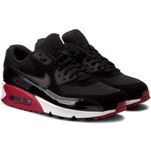 huge discount 1ca45 d9ae0 Image is loading Nike-Air-Max-90-Essential-Black-Red-Men-