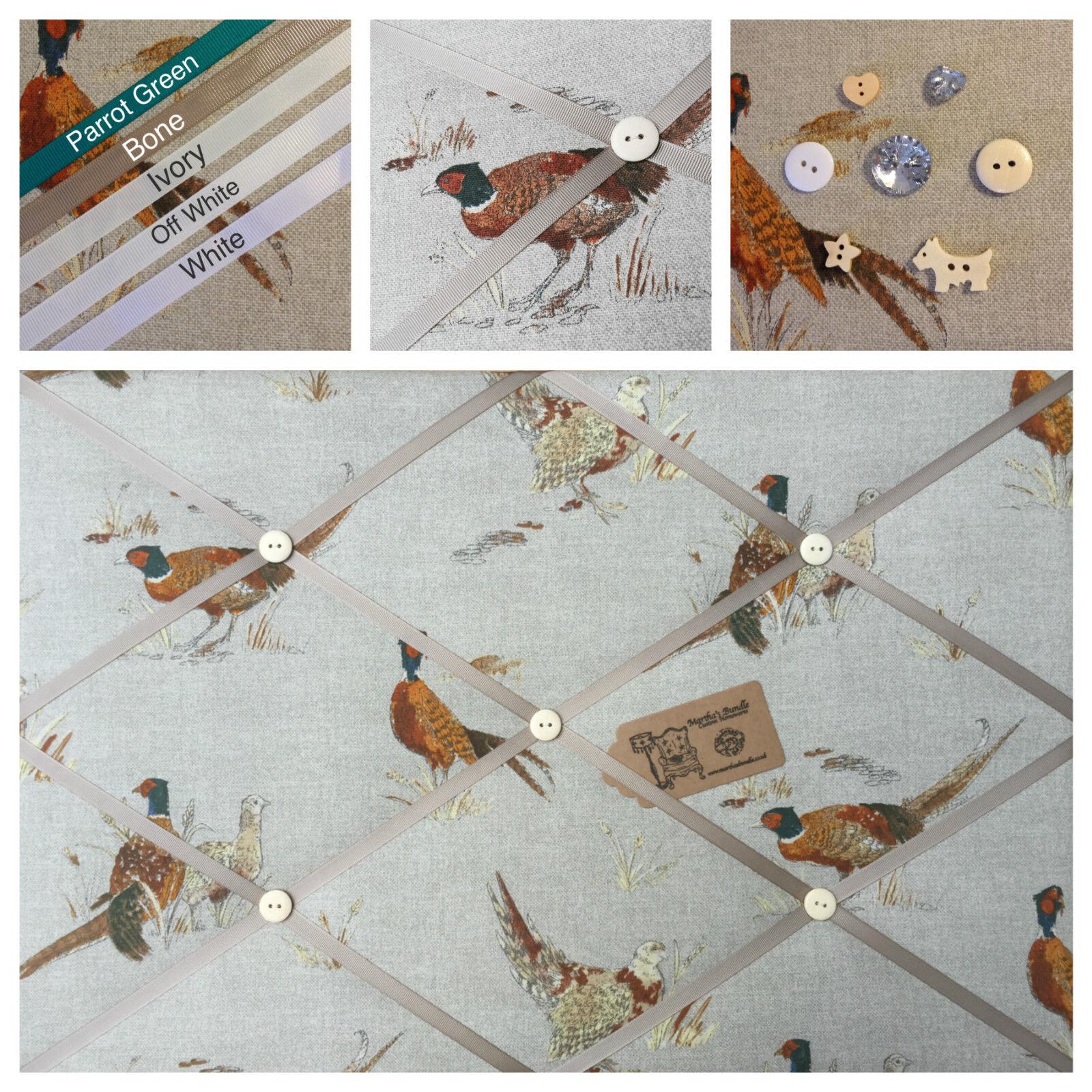 Custom hand made faisan Fryetts faisan made tissu pin/mémo/panneau d'affichage en liège sml lg xl daa8f9