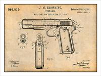 1911 Colt 45 Automatic Gun Patent Print Art Drawing Poster 18x24
