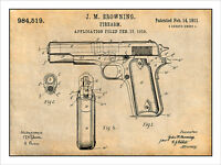 1911 Colt 45 Automatic Gun Patent Print Art Drawing Poster 18x24