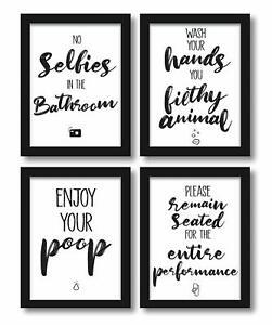 4er Set Poster A4 Bild Lustige Bad Wc Spruche Badezimmer Toilette Zitate Witzig Ebay