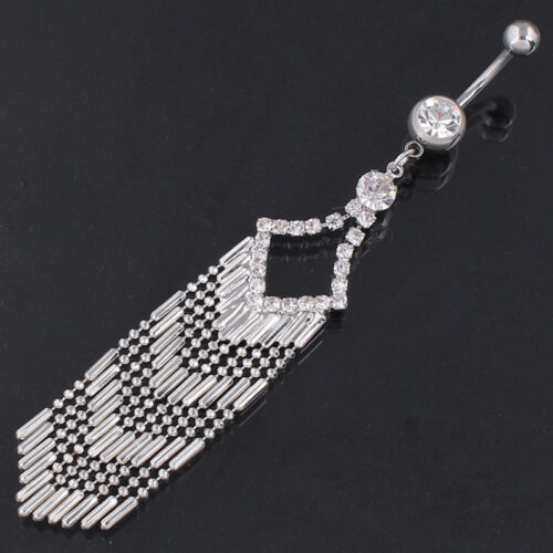 New 14G Clear Or Gold Gems Crystal Long Tassels Dangling Belly Bar//Navel Ring