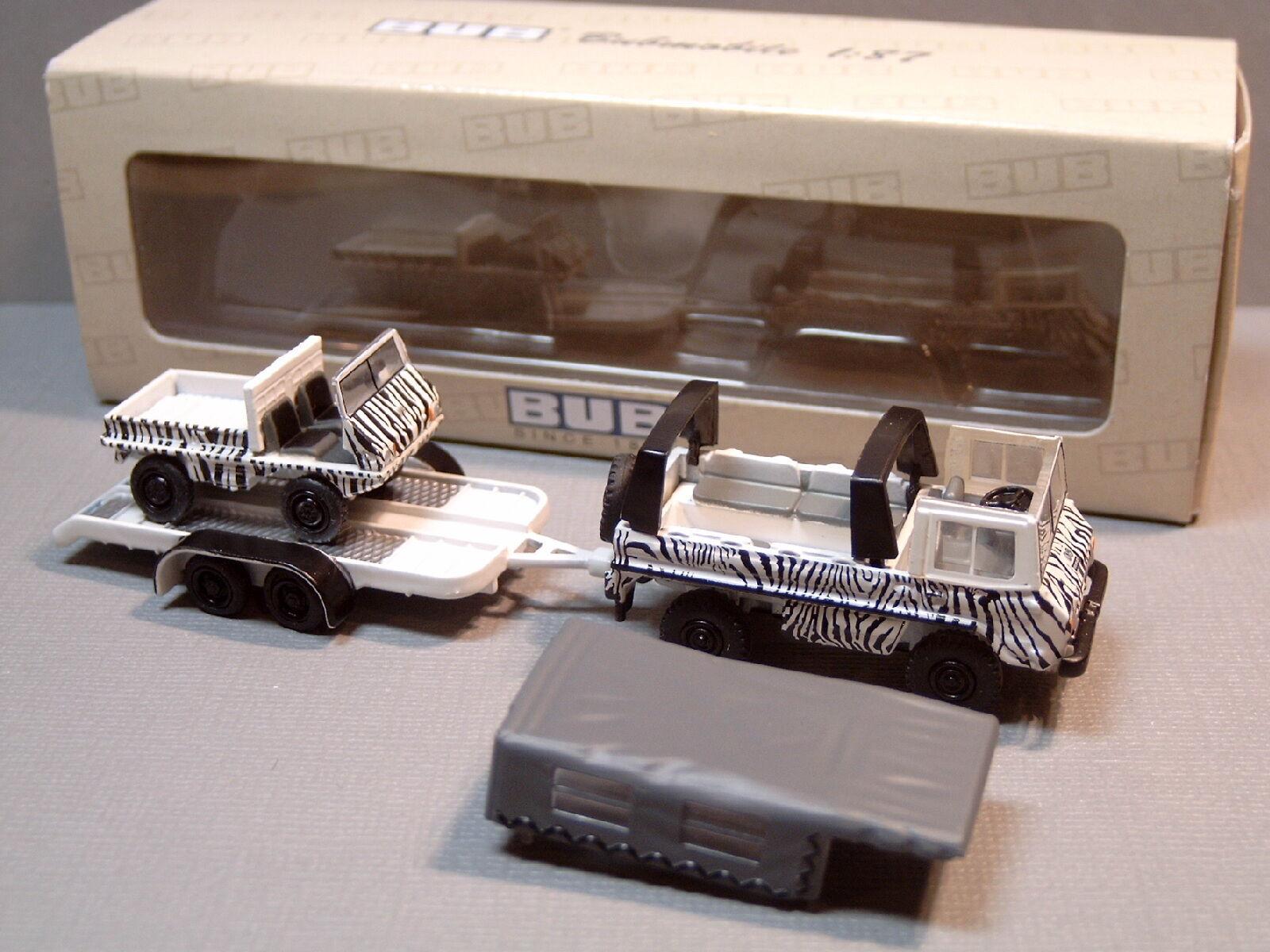 Venta en línea precio bajo descuento Bub 05554 Pinzgauer coche coche coche remolque Haflinger Safari cebra-look para Cochenaval Circus  gran descuento