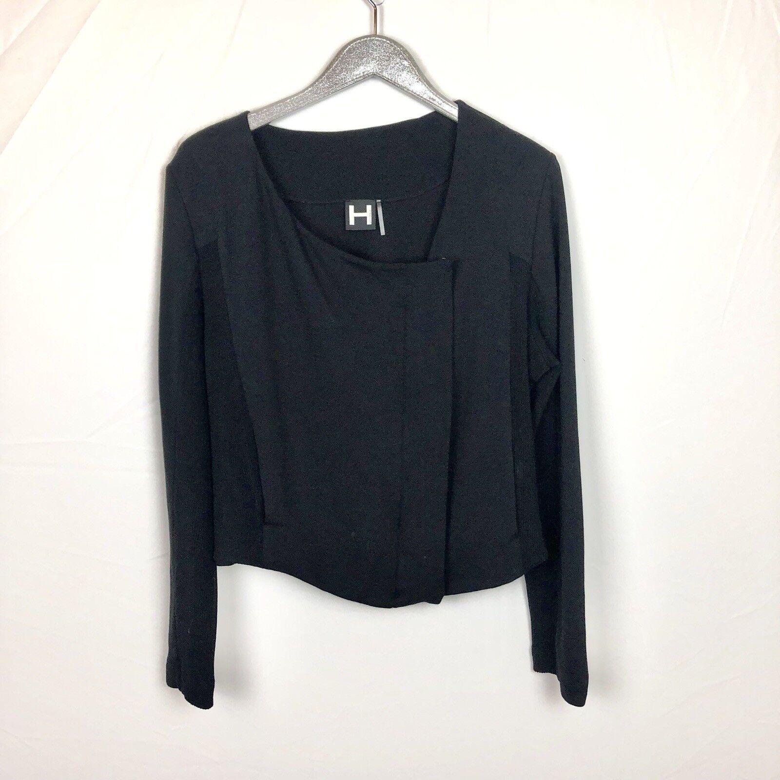 H By Bordeaux Black Collarless Assymetrical Snap Zip Soft Jacket Size Large L