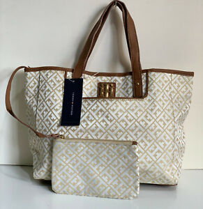 NEW-TOMMY-HILFIGER-GOLD-YELLOW-EAST-WEST-SHOPPER-TOTE-BAG-PURSE-W-WRISTLET-85