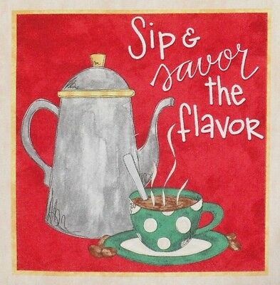 "Coffee Fabric Sip and Savor the Flavor 7"" x 7.25"" Block Quilt Square"