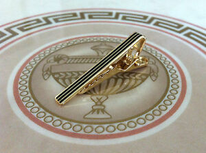 Mens-Boys-4CM-Skinny-Tie-Bar-Gold-Black-Stripe-Stainless-Steel-Clip-Clasp-Pin