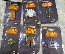 Disney STAR WARS series 2 Tauntaun Boba Fett Yoda R-2 D-2 Pin set 6 pins