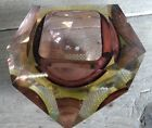 Vintage 50s/60s Murano Faceted Yellow Purple Geode Bowl