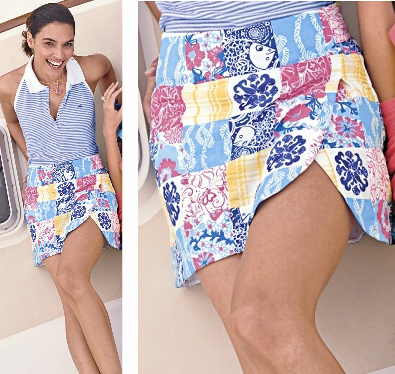 178 Lilly Pulitzer Lynch Casa Marina Sewn Patch Skort Skirt Shorts 12 RARE