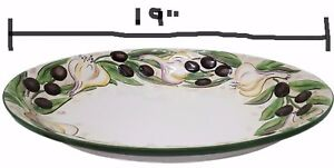 CLAY-ART-Ceramic-Stone-Lite-Hand-Painted-Large-Oval-Platter-Bowl-Olives-Garlic