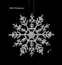 "10 ~ Sparkling SILVER Glitter 4"" Snowflake Ornaments ~ Christmas"