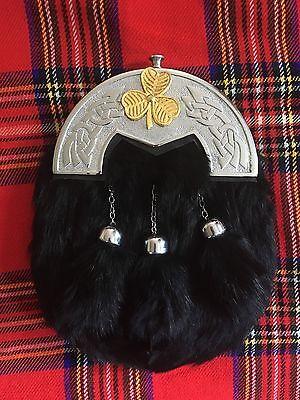 New Scottish Full Dress Black Sporran Celtic Candle With Masonic Gold Badges