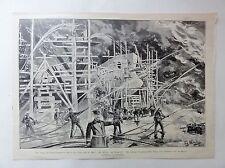 Brand der Germaniawerft bei Kiel - Holzstich von Stoltenberg - von 1899 (06