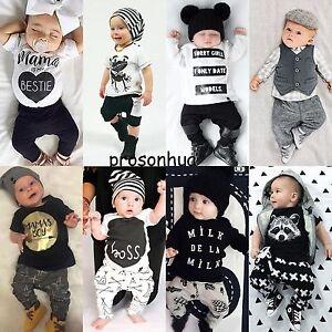 2pcs Newborn Baby Boys Girls Kids T-shirt Tops+Pants Leggings Outfit Clothes Set