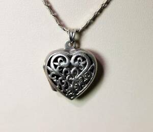 Sterling Silver Heart Picture Locket Charm or Pendant Opens