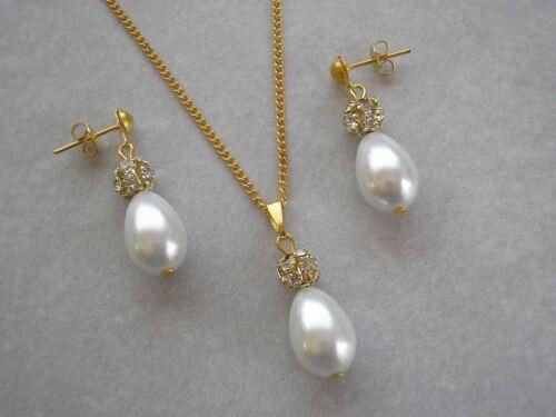 Pearl Teardrop /& Diamante Necklace /& Earrings Jewelry Set for women brides V1244