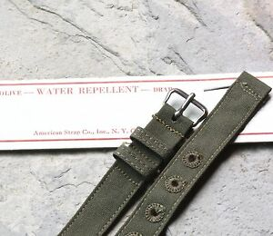 Olive-drab-green-cotton-12-5mm-2-pc-USA-made-military-watch-band-NOS-1940s-50s