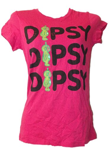 NEW LADIES GIRLS OFFICIAL BBC TELETUBBIES DIPSY FITTED PINK T-SHIRT SZ 8 10 12