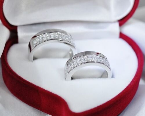 Genuine Solid HisHer 1.6CT 2Pcs Engagement Wedding Bands Set St Silver