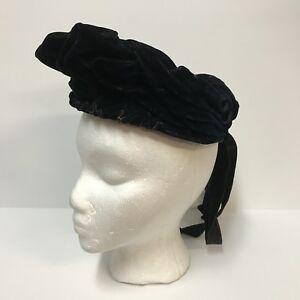 Antique-Hat-1890s-Victorian-Womens-Angled-Dark-Midnight-Blue-Velvet-Chin-Straps