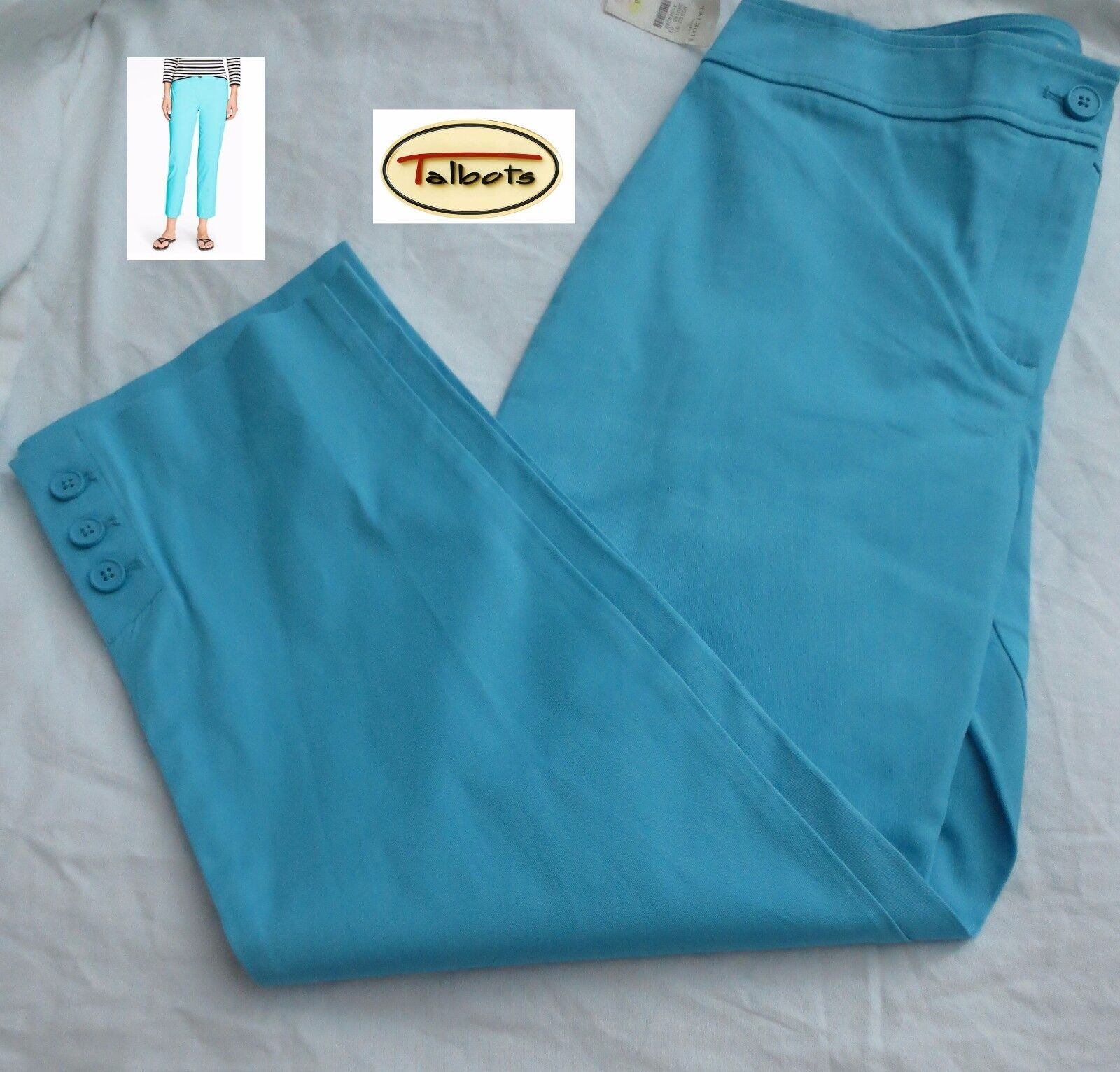 Talbots women's size 6 Stretch twill perfect capri in caribbean bluee, NWT