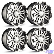 "Set 4 17"" Vision Warrior Black Machined Rims 17x8.5 6x5.5 Chevy GMC Truck 6 Lug"