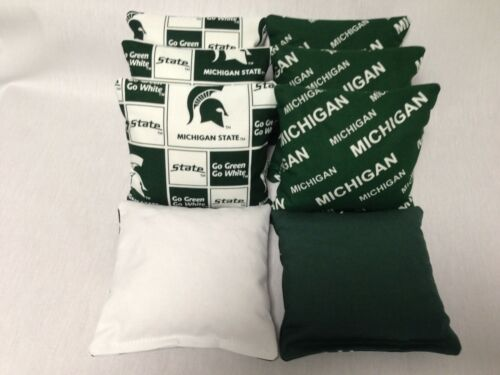 MICHIGAN STATE 8 CORNHOLE BAGS BEAN TOSS BAGO Print Fronts W//Duck Backs GrM//Bl N