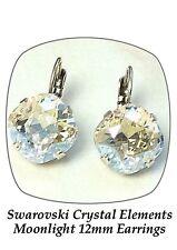 Swarovski crystal Elements 12mm fancy square stone golf drop earrings Moonlight