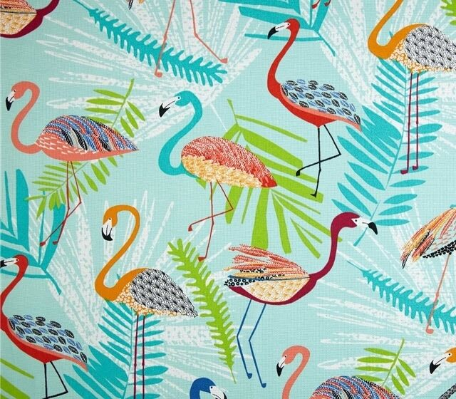 Outdoor/ Indoor~Upholstery~FLAMINGOS ~ Tropical Ferns~Blue~Fabric ~ per 1/4 yard