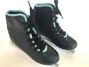 Double-Blade-Ice-Skates-Black-with-Blue-Trim-Youth-Size-12J-Excellent-Condition