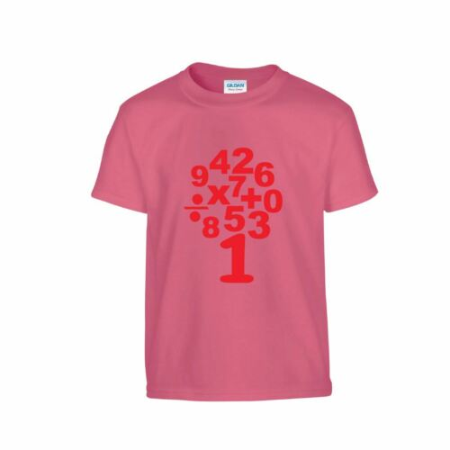 Kids Youth Novelty T Shirt Top School Numbers Maths Day Symbols Calculation Gift