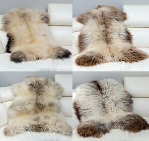 Details About Natural Colour Sheepskin Rug Very Rare Grey Brown Cuccino Coffee Cream Black