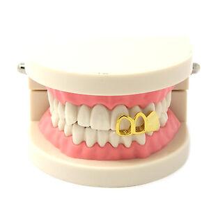 14k Gold Plated 3 Teeth Plain Canine Cap Open Single Tooth Grillz Hip Hop Teeth