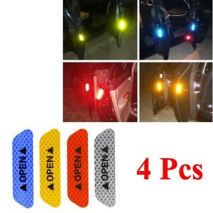 4 Pcs Safety Reflective Tape Open Sign Warning Mark Car Door Stickers Universal