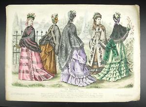 Lithography-c1890-Fashion-French-Dress-of-Dames-the-Season-Fashion-French