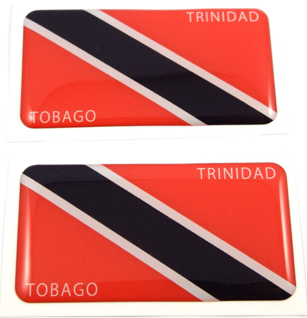 "Trinidad and Tobago flag domed decal 3D sticker emblem 2.6"" set of 1 or 2"
