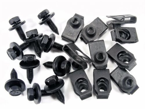20pcs #140 For Hyundai Body Bolts /& U-nut Clips M6-1.0mm x 20mm Long 10mm Hex