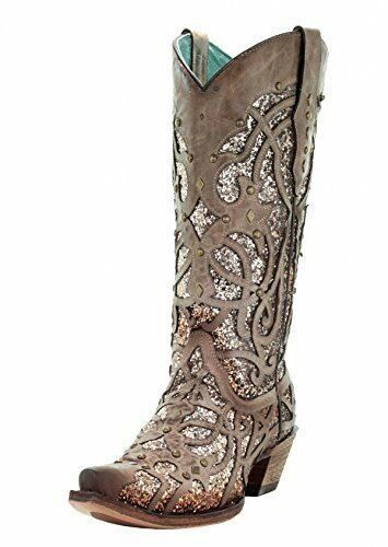 CORRAL Women's Orix Glitter Inlay and Studs Snip Toe Cowgirl Boots C3331