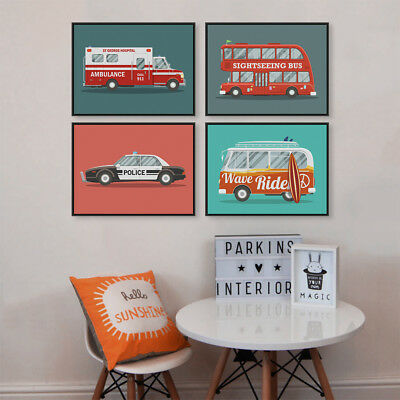 Colorful Cartoon Car Travel Bus Poster Print Kids Baby Room Deco Canvas Painting
