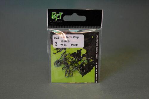 BFT Big Fish Tackle Pike 10 Stück neu! 70lbs 3 Fastach Clip Gr